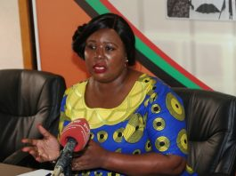 Minister of Information and Broadcasting Dora Siliya addressing the Journalist during Media briefing