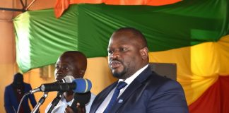 Minister of National Development Planning Alexander Chiteme officiating at the Labour Day Celebrations in Mbala on 1 May 2018. – PHOTO | CHIBAULA D. SILWAMBA | MNDP
