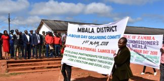 Workers marching past Minister National Development Planning Alexander Chiteme and other dignitaries during the Labour Day Celebrations in Mbala on 1 May 2018. – PHOTO | CHIBAULA D. SILWAMBA | MNDP