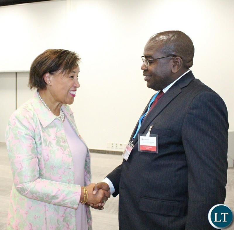 Commonwealth Secretary General Patricia Scotland with Minister of Health Chitalu Chilufya