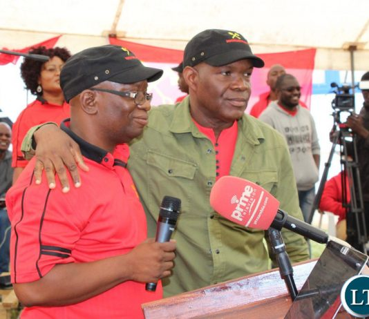 Socialist Party general secretary, Cosmas Musumali and the party's 2021 presidential candidate and deputy general secretary, Fred M'membe,