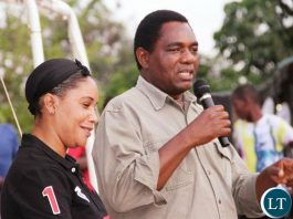 UPND leader Hakainde Hichilema in Chilanga Compaigning with UPND candidate Ms Musonda