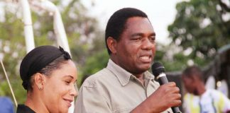 UPND leader Hakainde Hichilema in Chilanga Compaigning with UPND candidate Ms Musonda