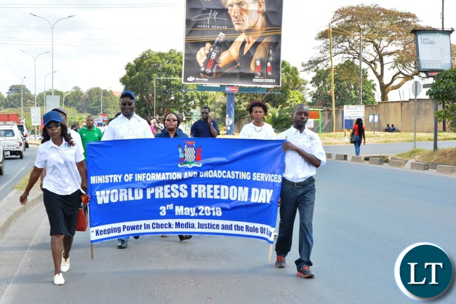 Acting Permanent Secretary of information and Broadcasting,<br /> Issiac Chipampe and MISA Chairperson, Ellen Mwale during World Press freedom<br /> day.