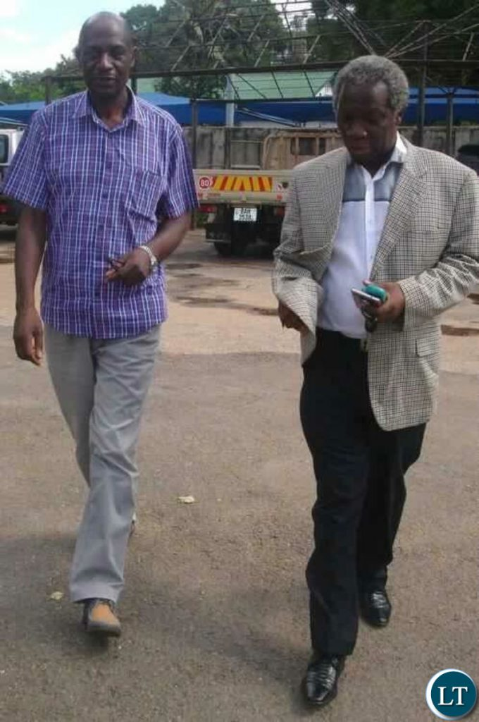 Mr Fresher Siwale and Mr Mike Mulongoti when they went to file a complaint to the Office of the Public Protector about President Lungu's identify recently.