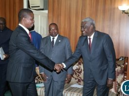 President Edgar Lungu welcomes the Chairperson of the African Union Moussa Faki when he pay a courtesy call at State House
