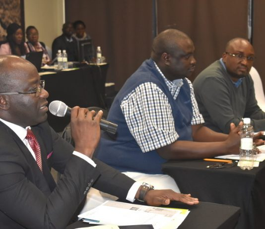 Dr. Richard Banda, MNDP Director - Monistoring and Evaluation, Mr. Mulele Mulele and PS Chola Chabala at National Designated Authority - National Consultative Stakeholders meeting on Nat. Climate Change Fund
