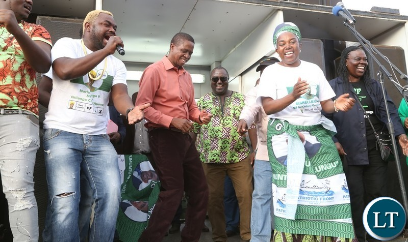 President Edgar Lungu, Chilanga Constituency PF Candidate Maria Langa and General kanene during a rally at Chinjanja Primary School to campaign for PF candidate Maria Langa in Chilanga Constituency yesterday 02-06-2018. Picture by ROYD SIBAJENE/ZANIS