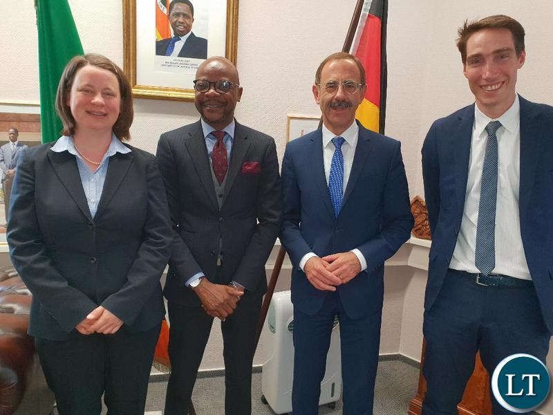 Ambassador Anthony Mukwita is flanked by Alois Schneider, Heike Porksen and Christoph Ritz. Picture courtesy of the Embassy of Zambia in Berlin, Germany.