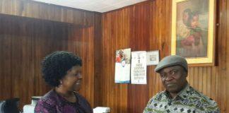 Green Party President Peter Sinkamba with Finance Minister Mrs. Mwanakatwe