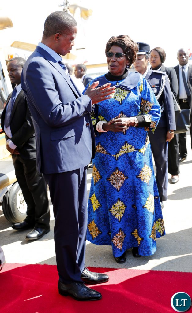 President Edgar Lungu confers with Her Honour the Vice-President, Mrs Inonge Wina at Kenneth Kaunda International Airport shortly before departure for a Private Visit to Kenya at the invitation of His counterpart President Uhuru Kenyatta, on Thursday, 14th June, 2018. Pictures by Eddie Mwanaleza/State House