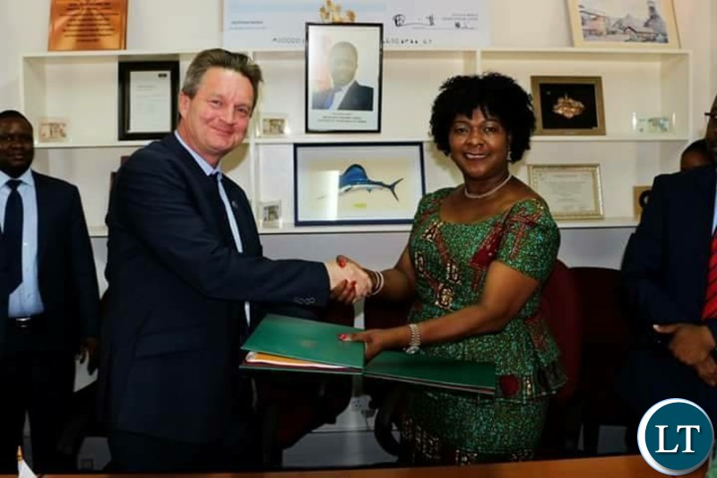 Finnish Ambassador to Zambia Timo Olkkonen with Minister of Finance Margaret Mwanakatwe