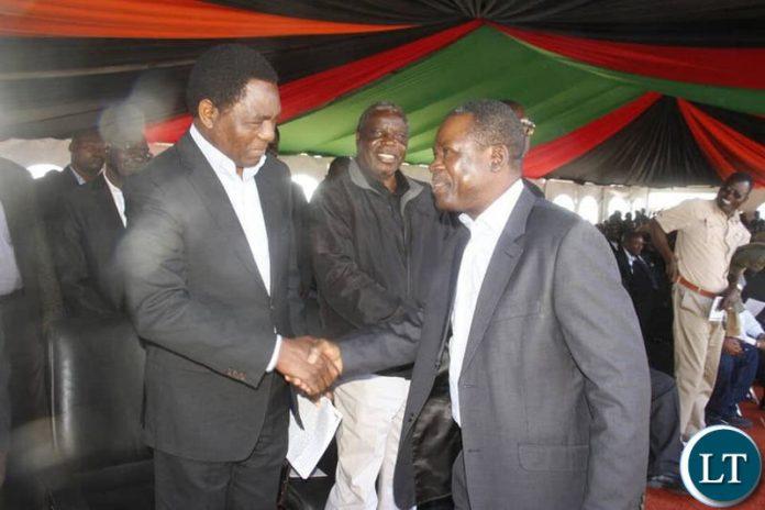HH and Wynter Kabimba meet at late Munkombwe's burial in Choma