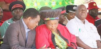 HH at Samu Lya Moomba Lwiindi traditional ceremony in Chieftaincy Choongo in Monze.