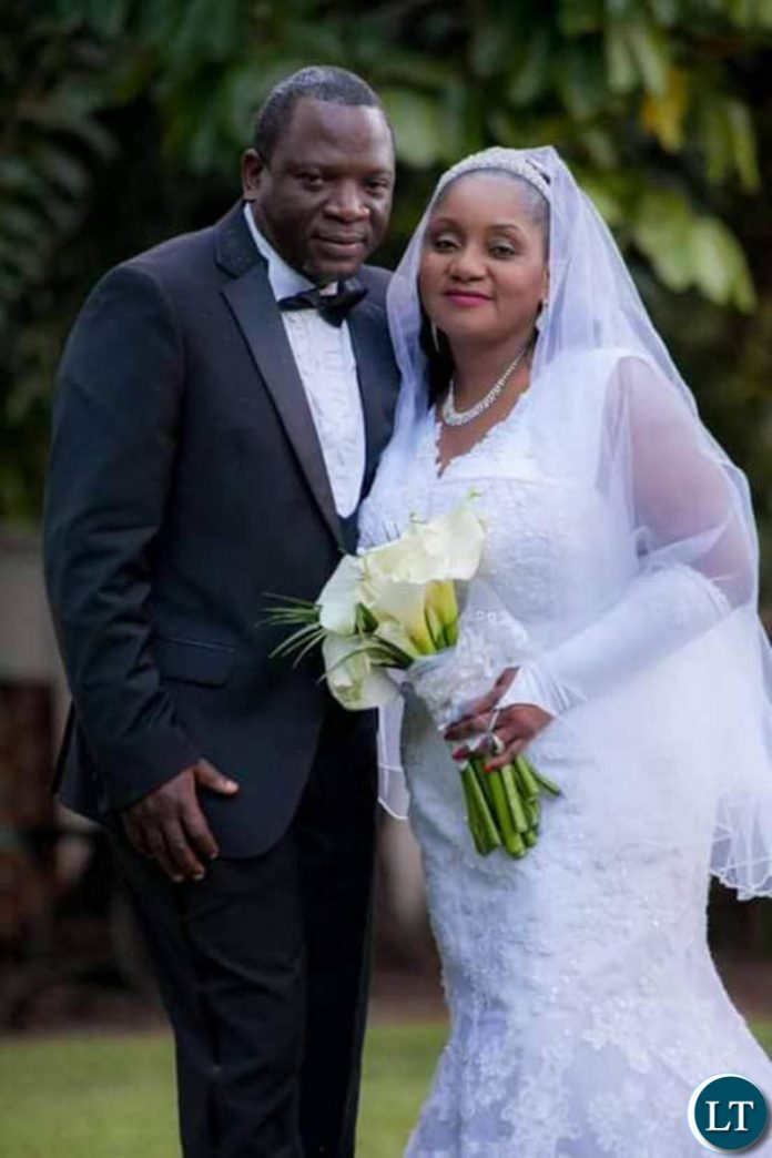 Veteran broadcaster Maureen Nkandu with her new husband Cosmas Chileshe