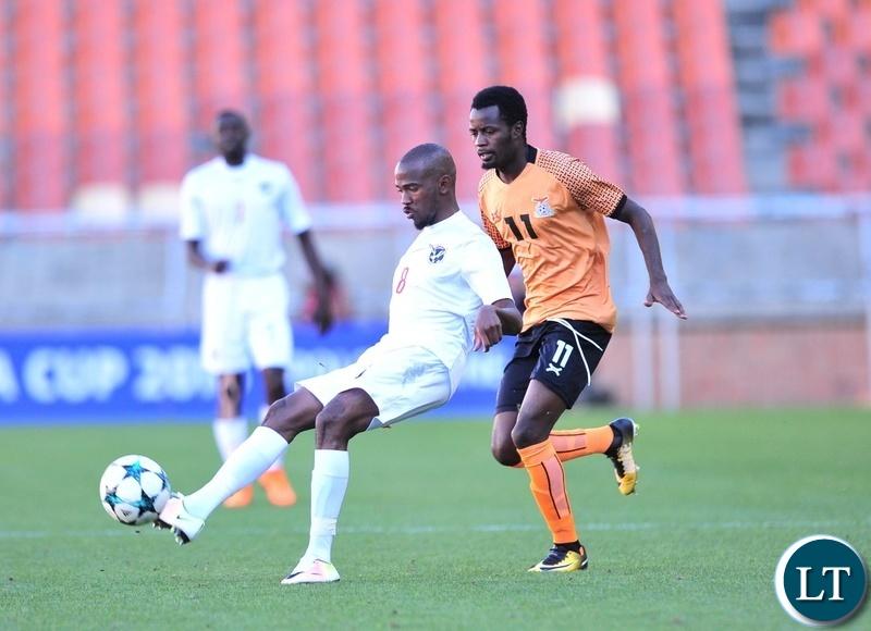 Dynamo Fredericks of Namibia challenged by John Chingandu of Zambia during the 2018 COSAFA match between Zambia and Namibia at Peter Mokaba Stadium, Polokwane on 02 June 2018 ©Samuel Shivambu/BackpagePix