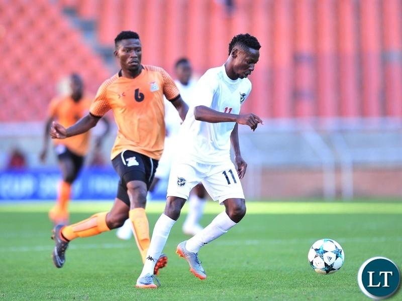 Absalom Imbondi of Namibia challenged by Benson Sakala of Zambia during the 2018 COSAFA match between Zambia and Namibia at Peter Mokaba Stadium, Polokwane on 02 June 2018 ©Samuel Shivambu/BackpagePix