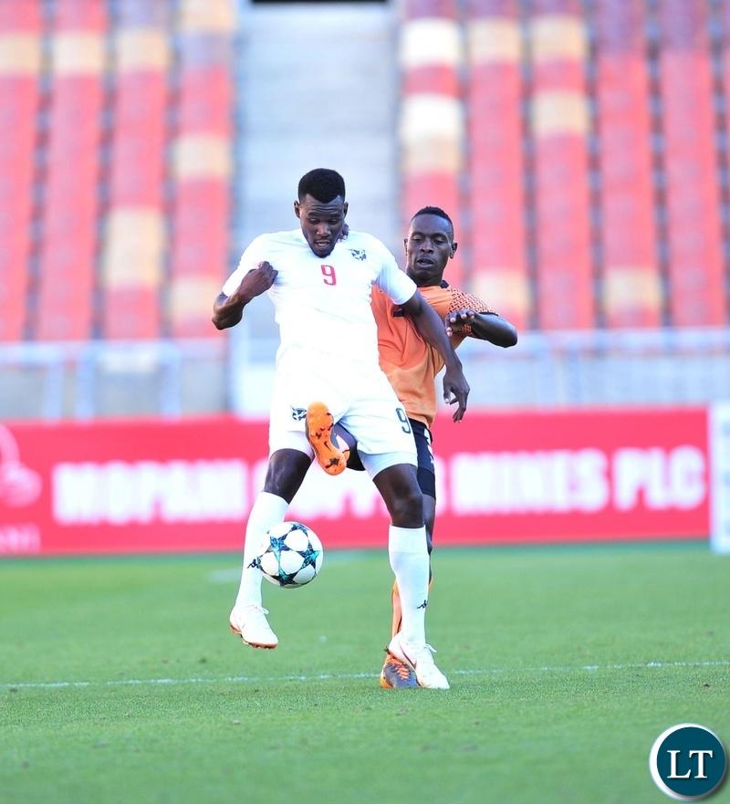Halleuya Nekundi of Namibia challenged by Billy Mutale of Zambia during the 2018 COSAFA match between Zambia and Namibia at Peter Mokaba Stadium, Polokwane on 02 June 2018 ©Samuel Shivambu/BackpagePix