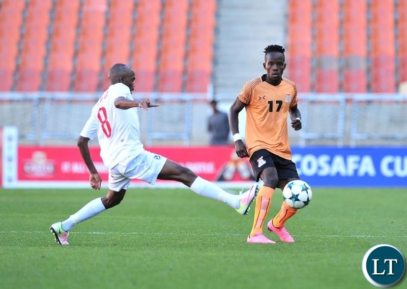 Clatous Chota Chama of Zambia challenged by Dynamo Fredericks of Namibia during the 2018 COSAFA match between Zambia and Namibia at Peter Mokaba Stadium, Polokwane on 02 June 2018 ©Samuel Shivambu/BackpagePix