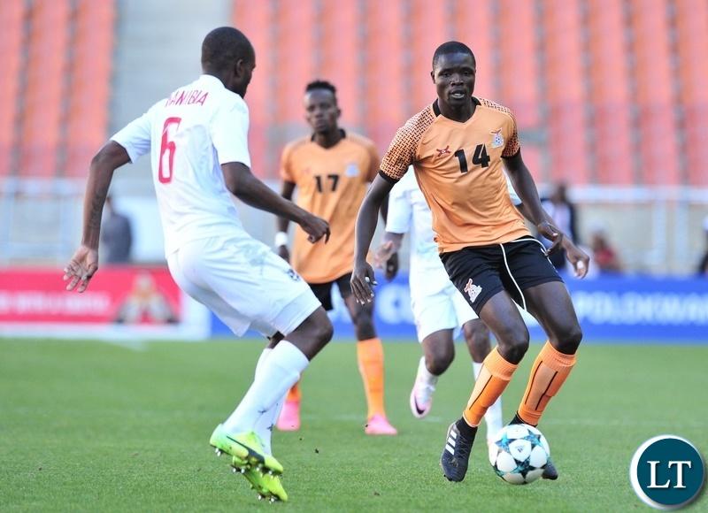 Jackson Chirwa of Zambia challenged by Vetunuavi Charles Hambira of Namibia during the 2018 COSAFA match between Zambia and Namibia at Peter Mokaba Stadium, Polokwane on 02 June 2018 ©Samuel Shivambu/BackpagePix