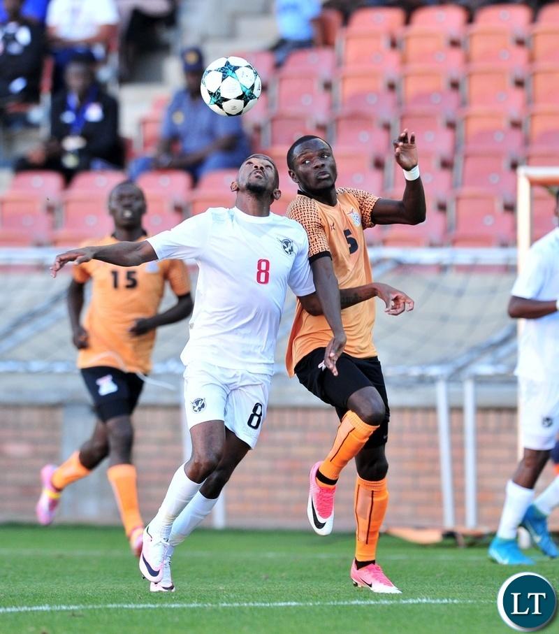 Lazarous Kambole of Zambia challenged by Dynamo Fredericks of Namibia during the 2018 COSAFA match between Zambia and Namibia at Peter Mokaba Stadium, Polokwane on 02 June 2018 ©Samuel Shivambu/BackpagePix