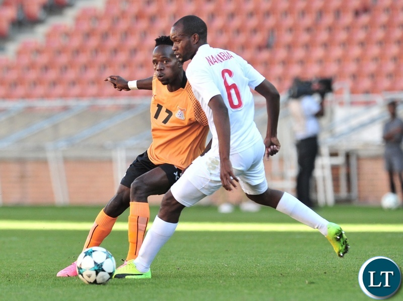 Clatous Chota Chama of Zambia challenged by Vetunuavi Charles Hambira of Namibia during the 2018 COSAFA match between Zambia and Namibia at Peter Mokaba Stadium, Polokwane on 02 June 2018 ©Samuel Shivambu/BackpagePix