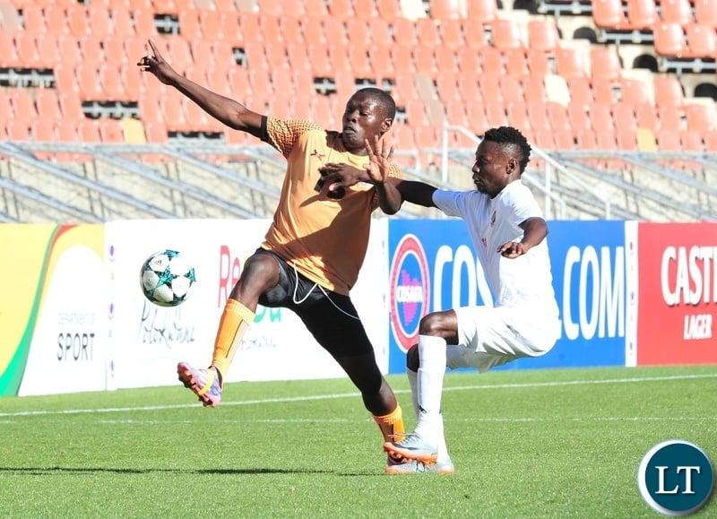 Kelvin Mubanga of Zambia challenged by Absalom Imbondi of Namibia during the 2018 COSAFA match between Zambia and Namibia at Peter Mokaba Stadium, Polokwane on 02 June 2018 ©Samuel Shivambu/BackpagePix