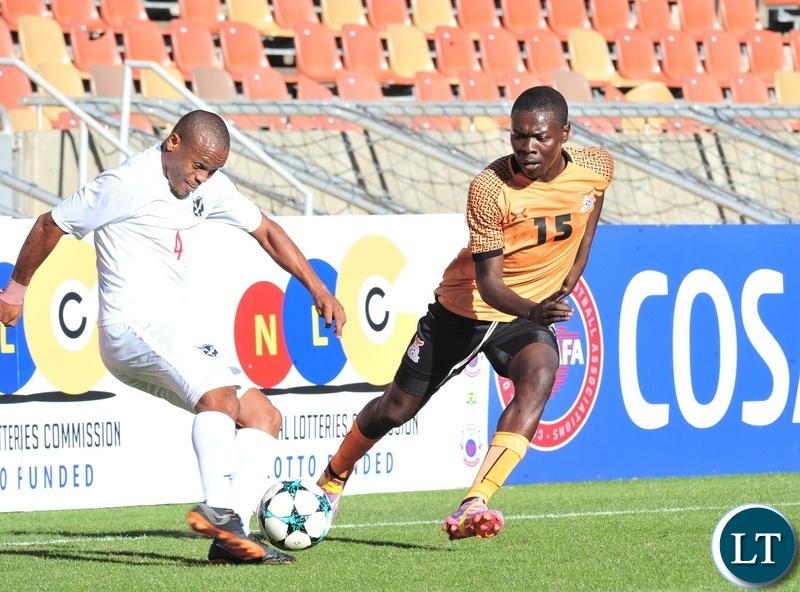 Welwin Riaan Hannamub of Namibia challenged by Kelvin Mubanga of Zambia during the 2018 COSAFA match between Zambia and Namibia at Peter Mokaba Stadium, Polokwane on 02 June 2018 ©Samuel Shivambu/BackpagePix