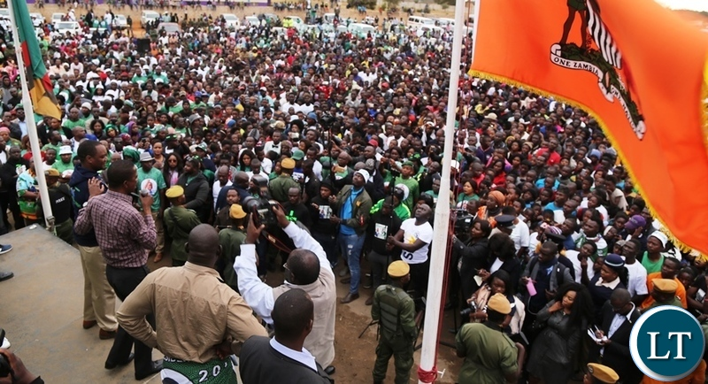 President Edgar Lungu addressing a mammoth really to support Mayoral Candidate Miles Sampa in Bauleni