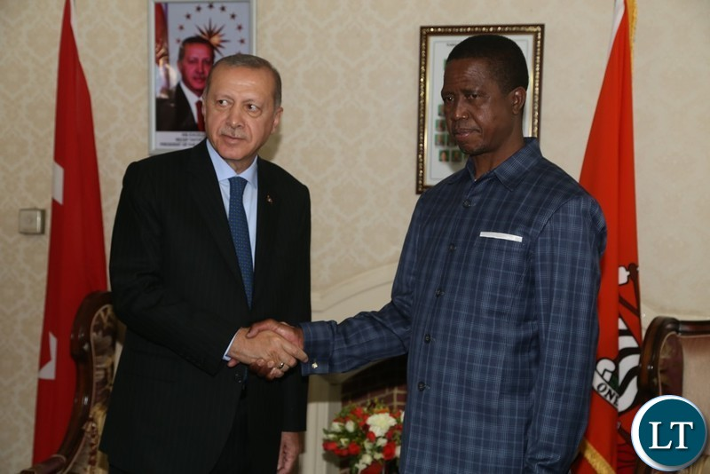 President Edgar Lungu welcomes President of Turkey Recep Erdogan at state House shortly before official talks