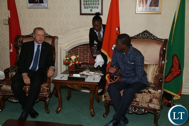 President Edgar Lungu confers with President of Turkey Recep Erdogan at state House shortly before official talks