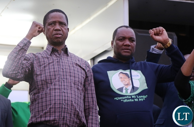 President Edgar Lungu and Lusaka Mayoral Candidate Miles Sampa in Bauleni