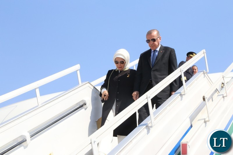 Recep Tayyip Erdogan President of the Republic of Turkey and First Lady,Mrs Emine Erdogan disembarks from the Presidential Plane on arrival at Kenneth Kaunda International Airport.
