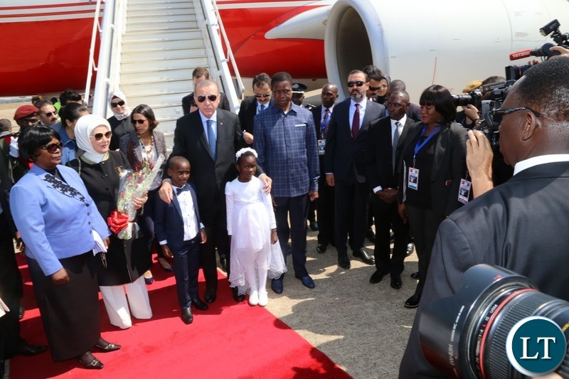 First Lady Esther Lungu. Turkish First Lady Mrs. Emine Erdogan, His Excellency, Recep Tayyip Erdogan President of the Republic of Turkey and His Excellency Edgar Chagwa Lungu pose for a photo with Temwani and Fahkhaan at Kenneth Kaunda International Airport