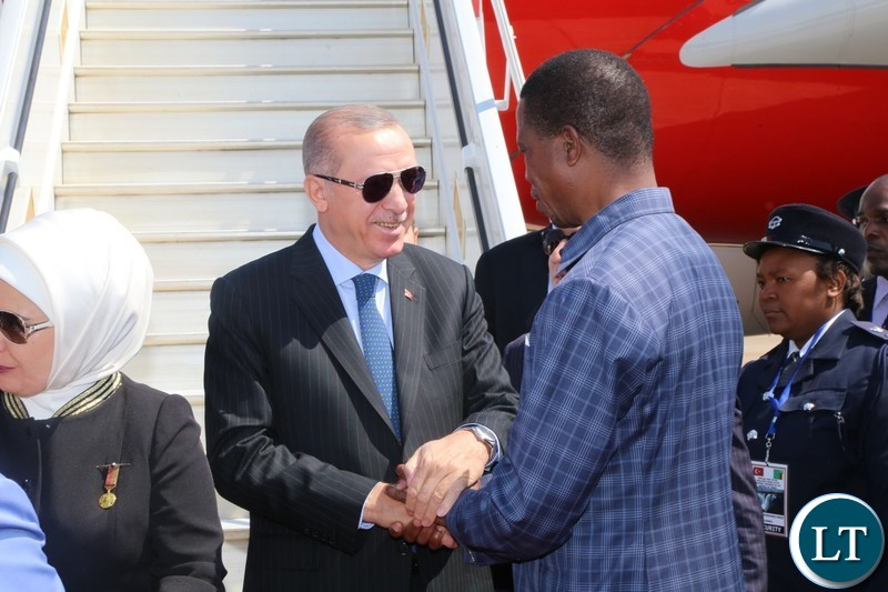 President Edgar Chagwa Lungu welcomes his Turkish counterpart President Recep Tayyip Erdogan at Kenneth Kaunda International Airport President Edgar Chagwa Lungu welcomes his Turkish counterpart President Recep Tayyip Erdogan at Kenneth Kaunda International Airport