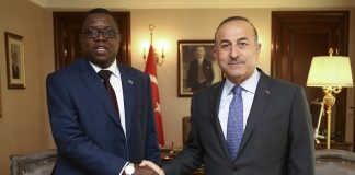 Minister of Foreign Affairs Joseph Malanji during a bilateral meeting with his Turkish counterpart Mevlut Cavusoglu in Ankara yesterday. On the right is Zambia's Ambassador designate to the Republic of Turkey, Mr Joseph Chilengi and Ministry of Foreign Affairs of the Republic of Turkey, Director General for Africa, Mr Ahmet Riza Demirer