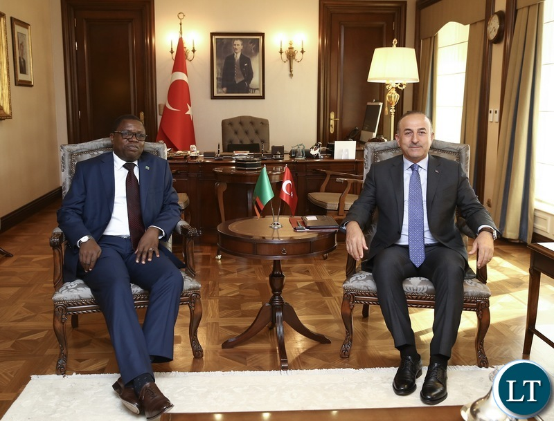 Minister of Foreign Affairs Joseph Malanji during a bilateral meeting with his Turkish counterpart Mevlut Cavusoglu in Ankara