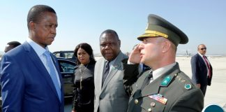 President Edgar Chagwa Lungu (left) being saluted by a Turkish Defence official (right) before departure at Ankara Esenboga Airport in Turkey onTuesday, July 10, 2018. President Lungu was in Ankara,Turkey for the inauguration of the Turkish President Recep Tayyip Erdo?an. PICTURE BY SALIM HENRY/STATE HOUSE ©2018