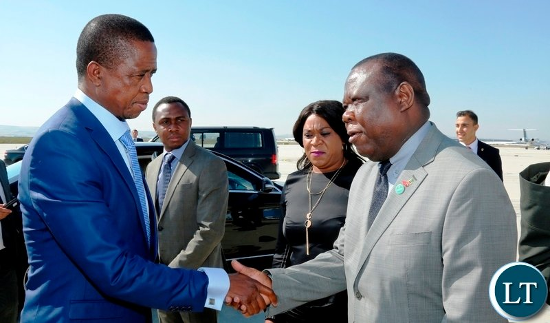 President Edgar Chagwa Lungu (left) bids farewell to Zambia's Ambassador to Turkey Joseph Chilengi (right) before departure at Ankara Esenboga Airport in Turkey onTuesday, July 10,2018. President Lungu was in Ankara,Turkey for the inauguration of the Turkish President Recep Tayyip Erdo?an. PICTURE BY SALIM HENRY/STATE HOUSE ©2018