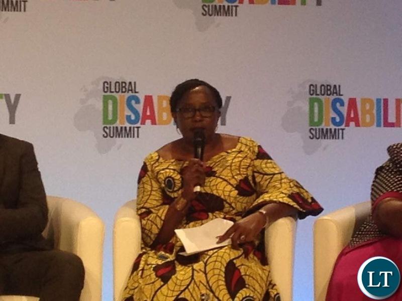 Hon.Kabanshi addressing the Global Disability summit