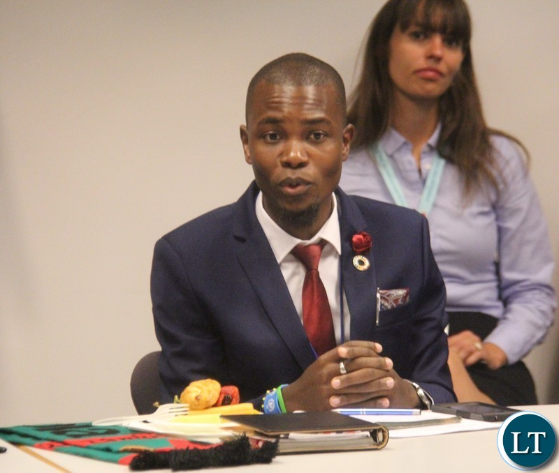 """Daniel Sichilongo, Zambia's ActionAid Youth Leadership Programme Envoy at round-table meeting themed; """"Strengthening Youth Leadership to Create Sustainable and Resilient Societies,"""" on the sidelines of the ongoing High Level Political Forum at the Permanent Mission of Denmark to the United Nations."""