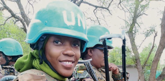 One of Zambia's women peacekeeper to the United Nations.