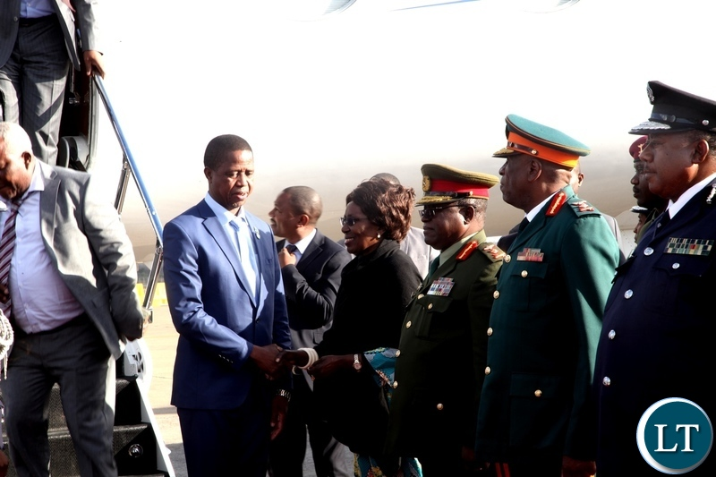PRESIDENT Lungu is welcomed by Vice President Inonge Wina on arrival at Kenneth Kaunda International Airport Turkey where he had gone for the inauguration of the new Turkish President. PICTURE BY ALEX MUKUKA/ZANIS