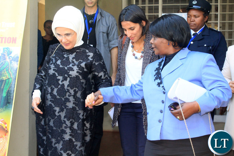 FIRST Lady Esther Lungu (r) with her Turkish counterpart Emine Erdogan during a visit at the Esther Lungu Foundation Trust secretariat in Lusaka on 28/7/2018.Pictures By Angela Ntentabunga.