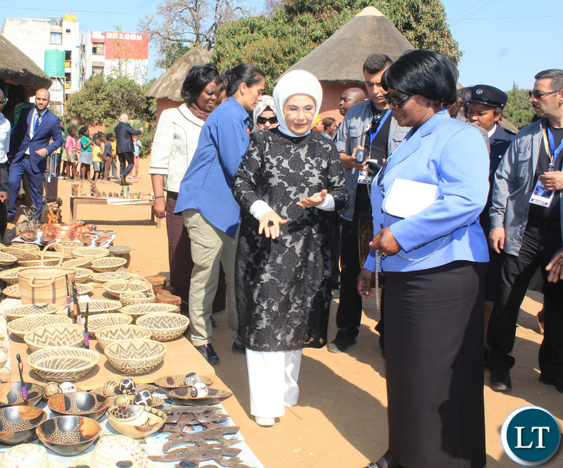 IRST Lady Esther Lungu (r) with her Turkish counterpart Emine Erdogan during a visit at the Kabwata Cultural Village in Lusaka on 28/7/2018.Pictures By Angela Ntentabunga.