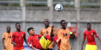 Dalio Profeta Magaia of Mozambique challenged by Alex Miyanda Mwiinga of Zambia during the 2018 Cosafa Under 17 Youth Championships football match between Zambia and Mozambique at the Francois Xavier Stadium in Port Louis, Mauritius on 19 July 2018 ©Gavin Barker/BackpagePix