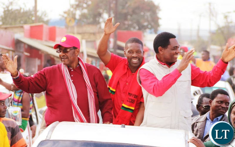 UPND Mayoral Candidate Kangwa Chileshe campaigning with HH and GBM