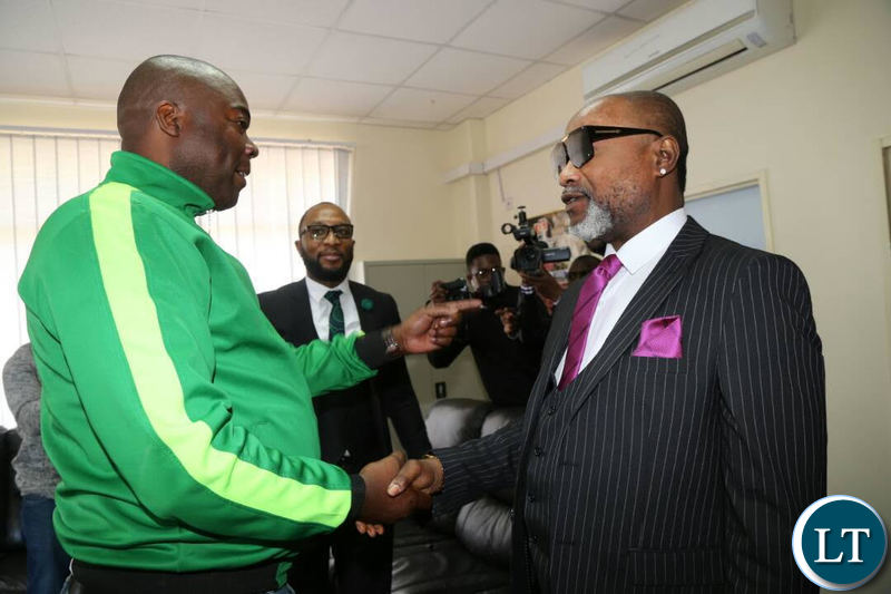 Koffi pays a courtesy call on Lusaka Province Minister Bowman Lusambo at his office