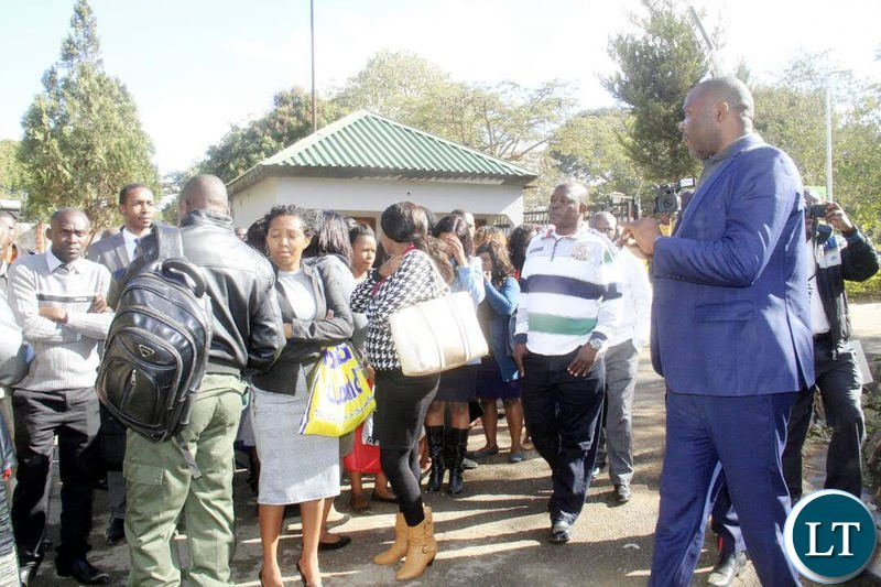 Mr Lusambo addressing the civil servants who came late for work shortly before chasing them away.