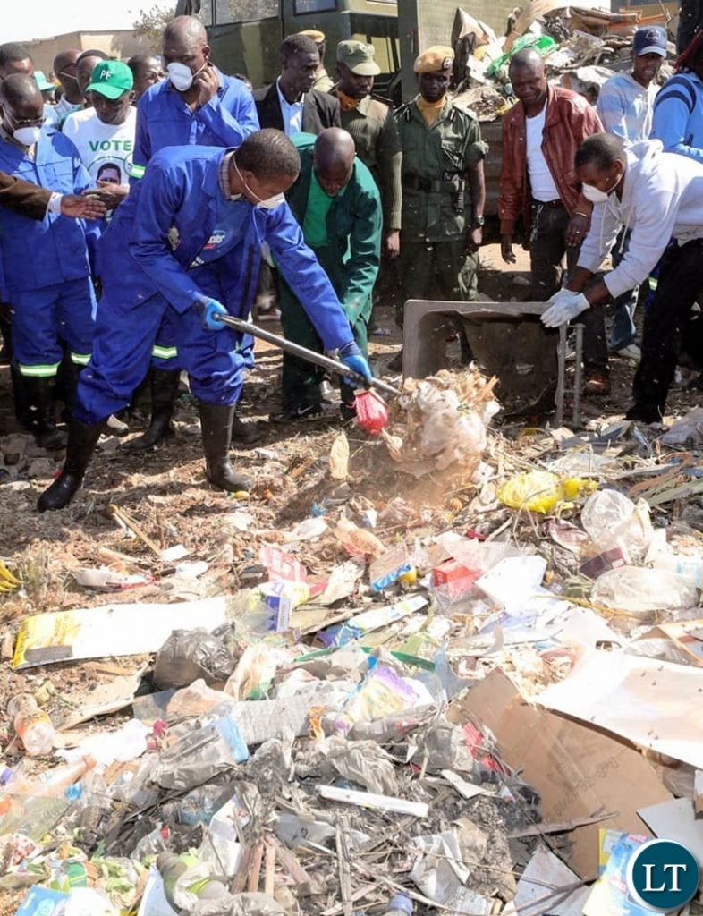 President Edgar Lungu during the Keep Zambia Clean in Chongwe